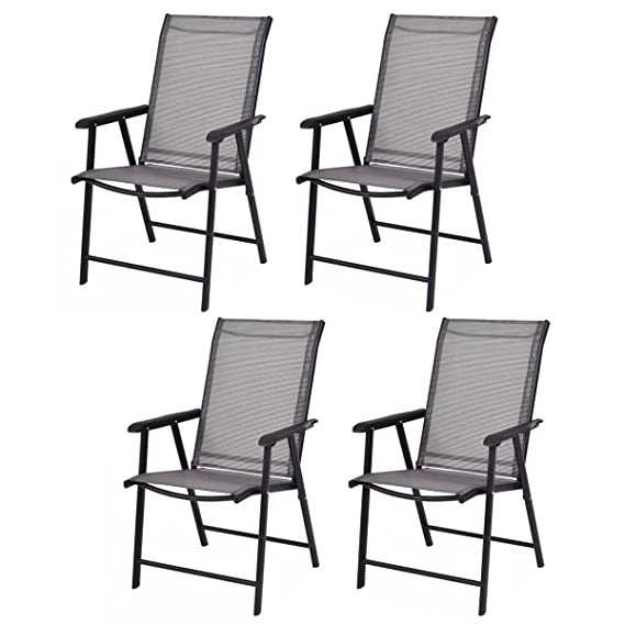 Giantex 4-Pack Patio Folding Chairs Portable for Outdoor Camping, Beach, Deck Dining Chair w/Armrest, Patio Chairs Set of 4, Grey