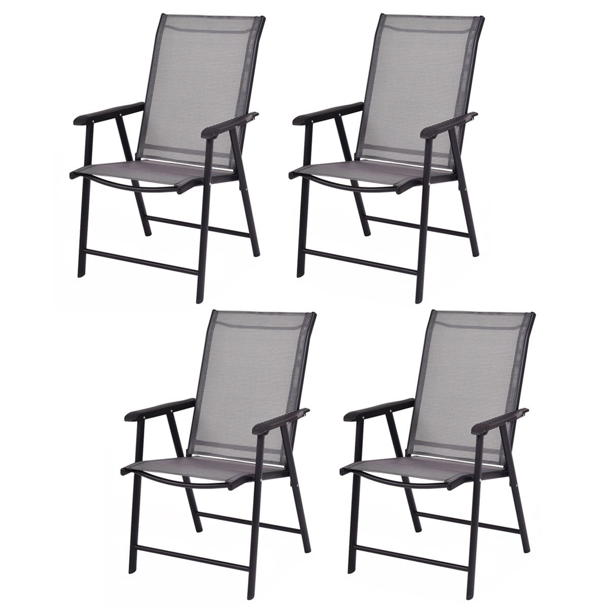 Giantex 4-Pack Patio Folding Chairs Portable for Outdoor Camping, Beach, Deck Dining Chair w/ Armrest, Grey