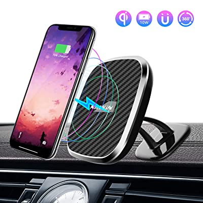 Nillkin Wireless Car Charger Mount, 2 in 1 Rotatable Magnetic Car Phone Holder 5W/ 7.5W/10W Qi Fast Wireless Charger with LED Indicator for iPhone XR/XS/XS MAX/X/8/8 Plus Galaxy S10/S10+/S9/S9+/S8/S8: Home Audio & Theater