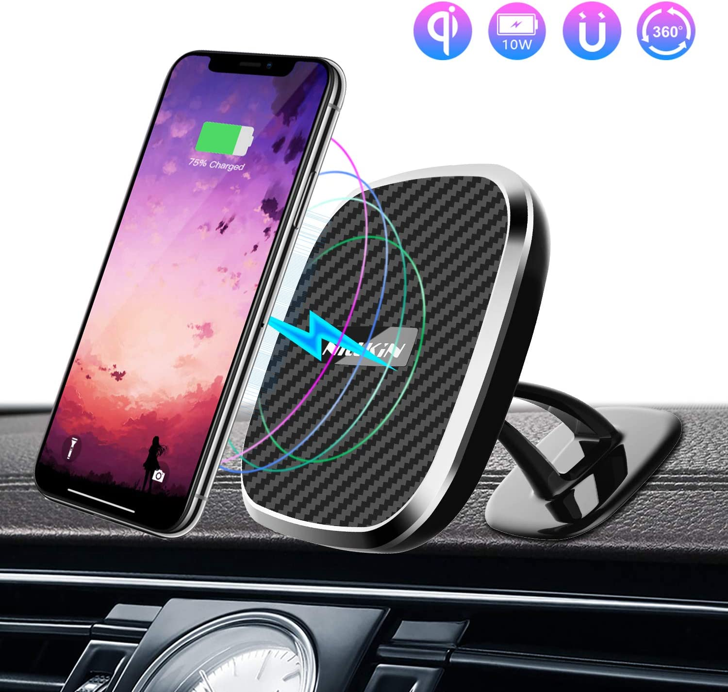 Nillkin Wireless Car Charger Mount, 2 in 1 Rotatable Magnetic Car Phone Holder 5W/ 7.5W/10W Qi Fast Wireless Charger with LED Indicator for iPhone XR/XS/XS MAX/X/8/8 Plus Galaxy S10/S10+/S9/S9+/S8/S8