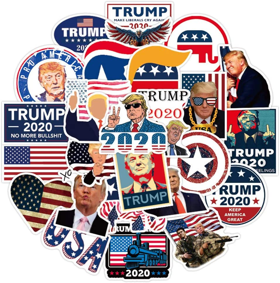 America President Trump Stickers for Adult Teen (50pcs Pack), Vinyl Decal for Laptop Skateboard Water Bottle Phone Bike Car Luggage Guitar Travel Case