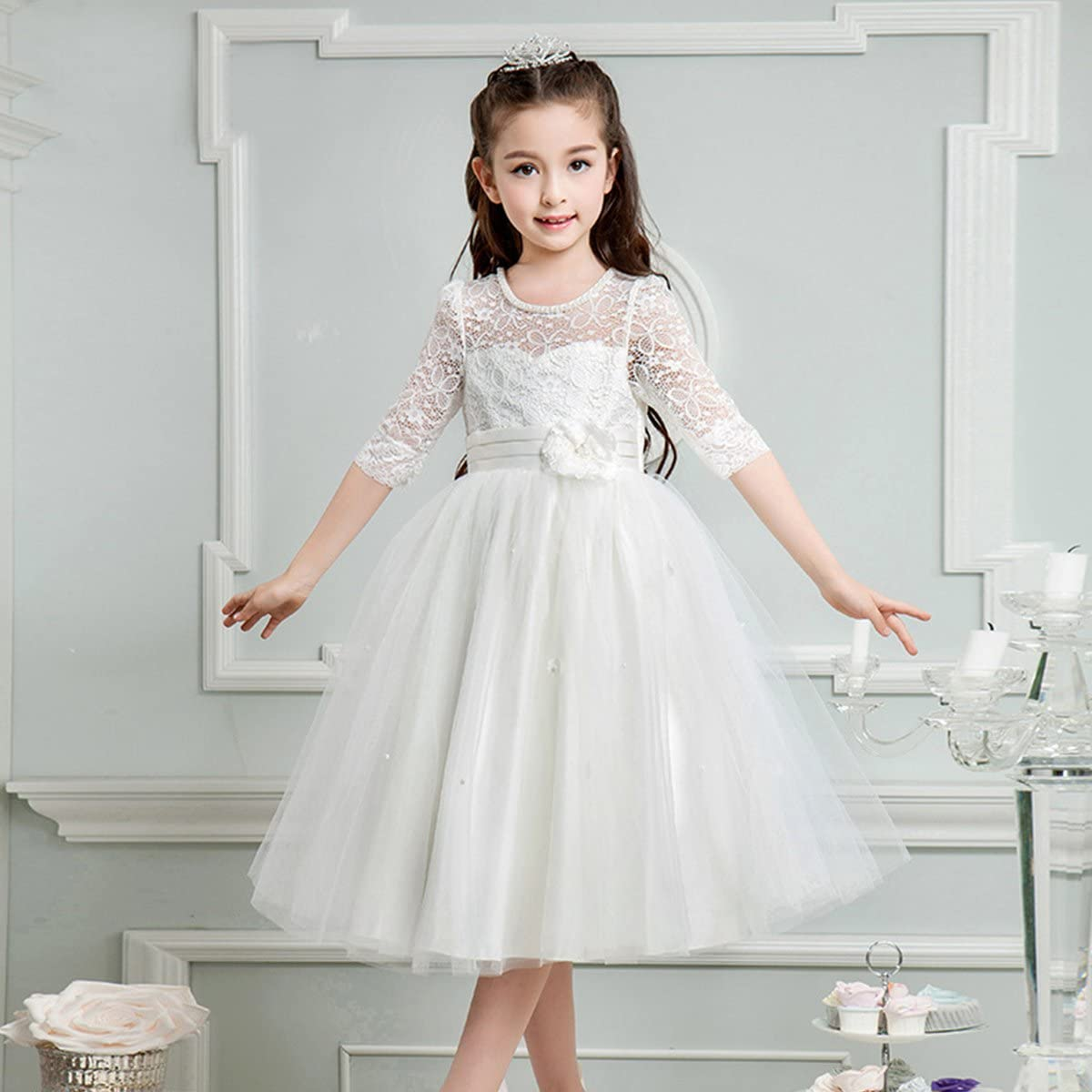 IBTOM CASTLE Girl Lace Flowers Princess Prom Wedding Dress Tulle Party Pageant Gown