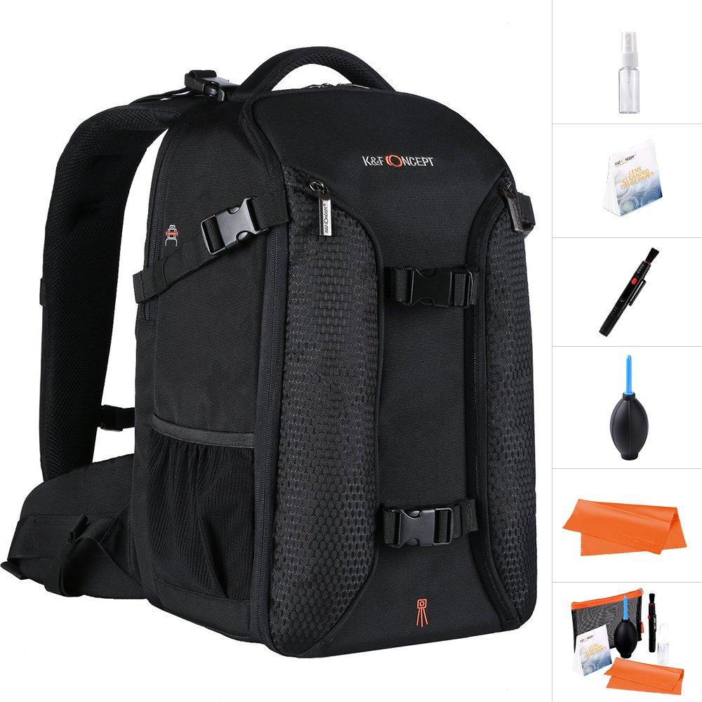 K&F Concept Professional Camera Backpack,15.6'' Laptop Large Capacity Waterproof Nylon Photography Bag for Nikon Canon Sony Pentax DSLR Cameras,Tripod,Lenses