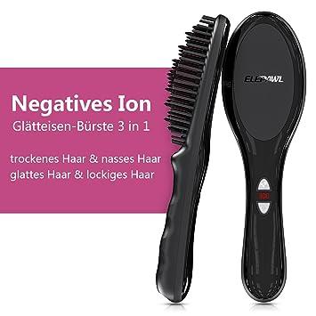 elepawl ionischer alisador de cabello Cepillo de cerámica calefacción glättb redondo: Amazon.es: Salud y cuidado personal