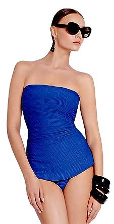 53ef98c465b1c Gottex Women's Architecture One Piece Bandeau Swimdress Swimsuit (2, blue)