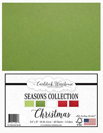 Holiday 8.5x11 Cardstock Scrapbooking Paper Pack 50 Sheets Red, Green, White