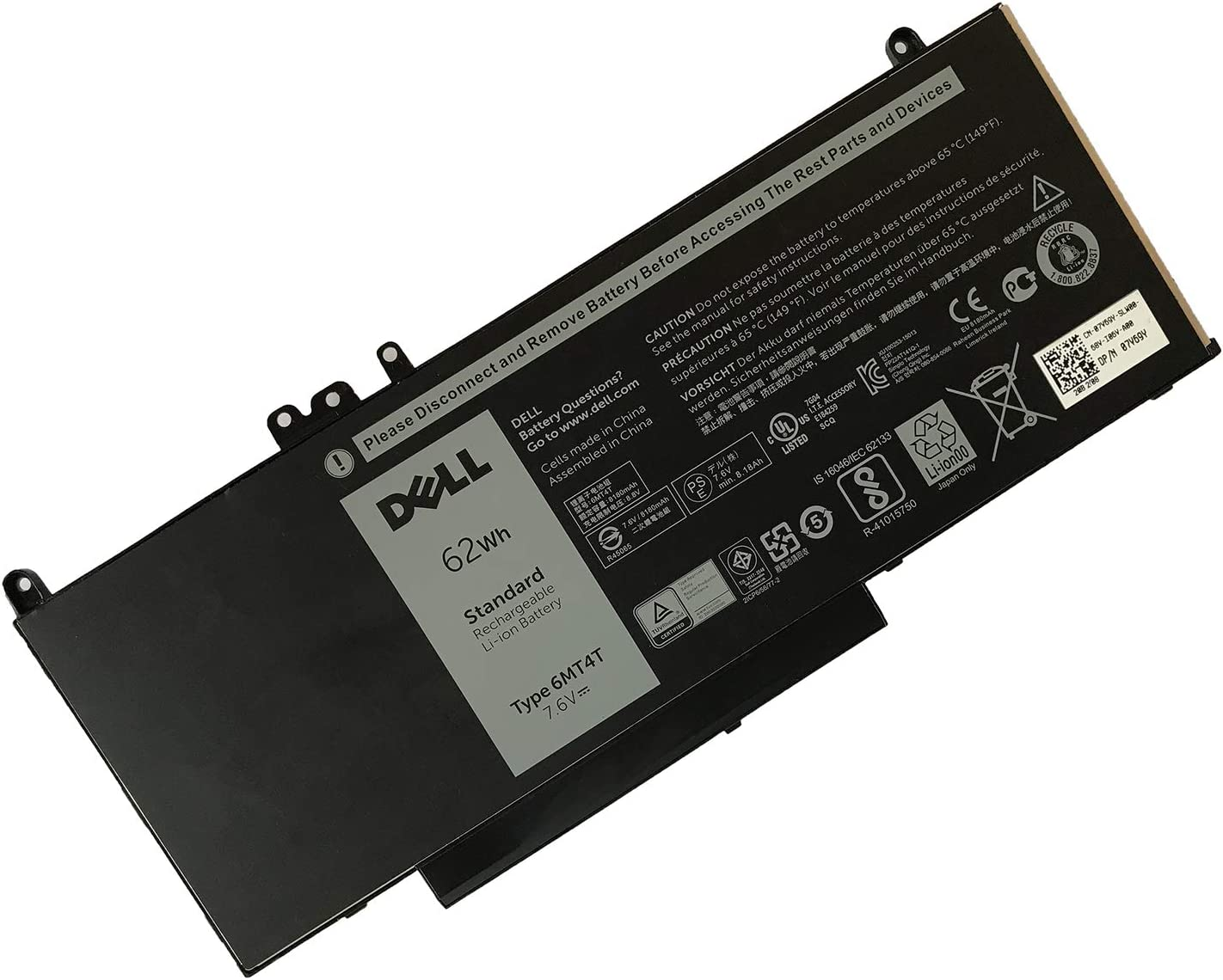 DELL 6MT4T 7.6V 62WH Lithium Polymer Battery for DELL Latitude E5470 E5570 Series Notebook