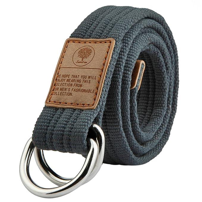 Maikun lienzo Web estilo militar cinturón con hebilla de metal doble anilla JkBq6Gi