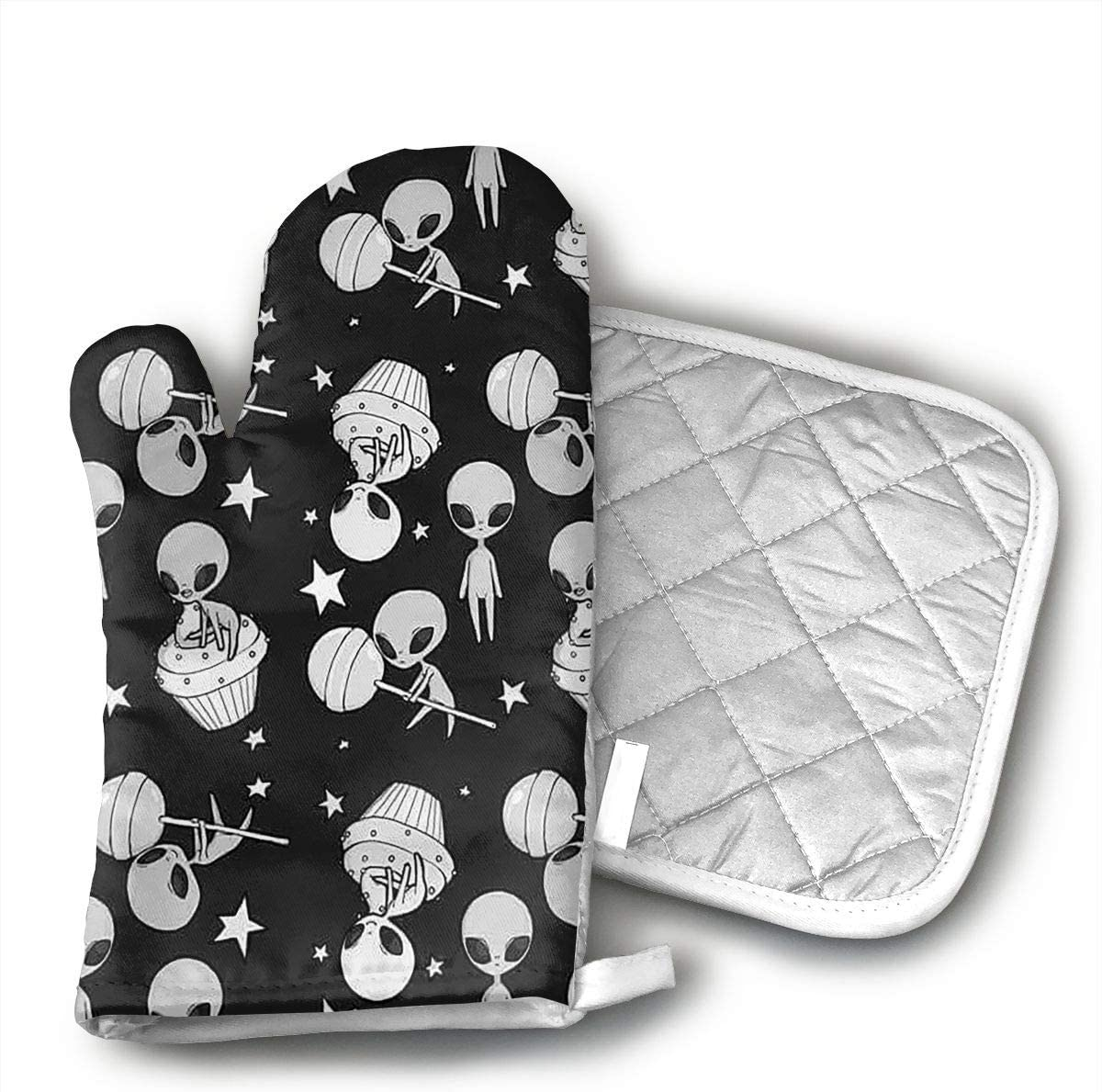 MEILVWEN Universe Alien Oven Mitt and Pot Holder, Heat Resistant for Cooking and Baking Kitchen Gift