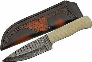 SZCO Supplies Damascus Steel Bone Shark Tooth Knife Hunting Knife