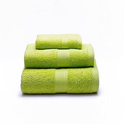 Sancarlos - Juego de 3 toallas YANAI, 100% Algodón, Color Verde