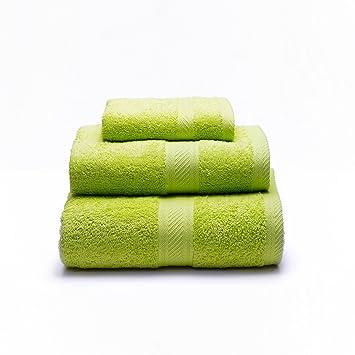 Sancarlos - Juego de 3 toallas YANAI, 100% Algodón, Color Verde: Amazon.es: Hogar