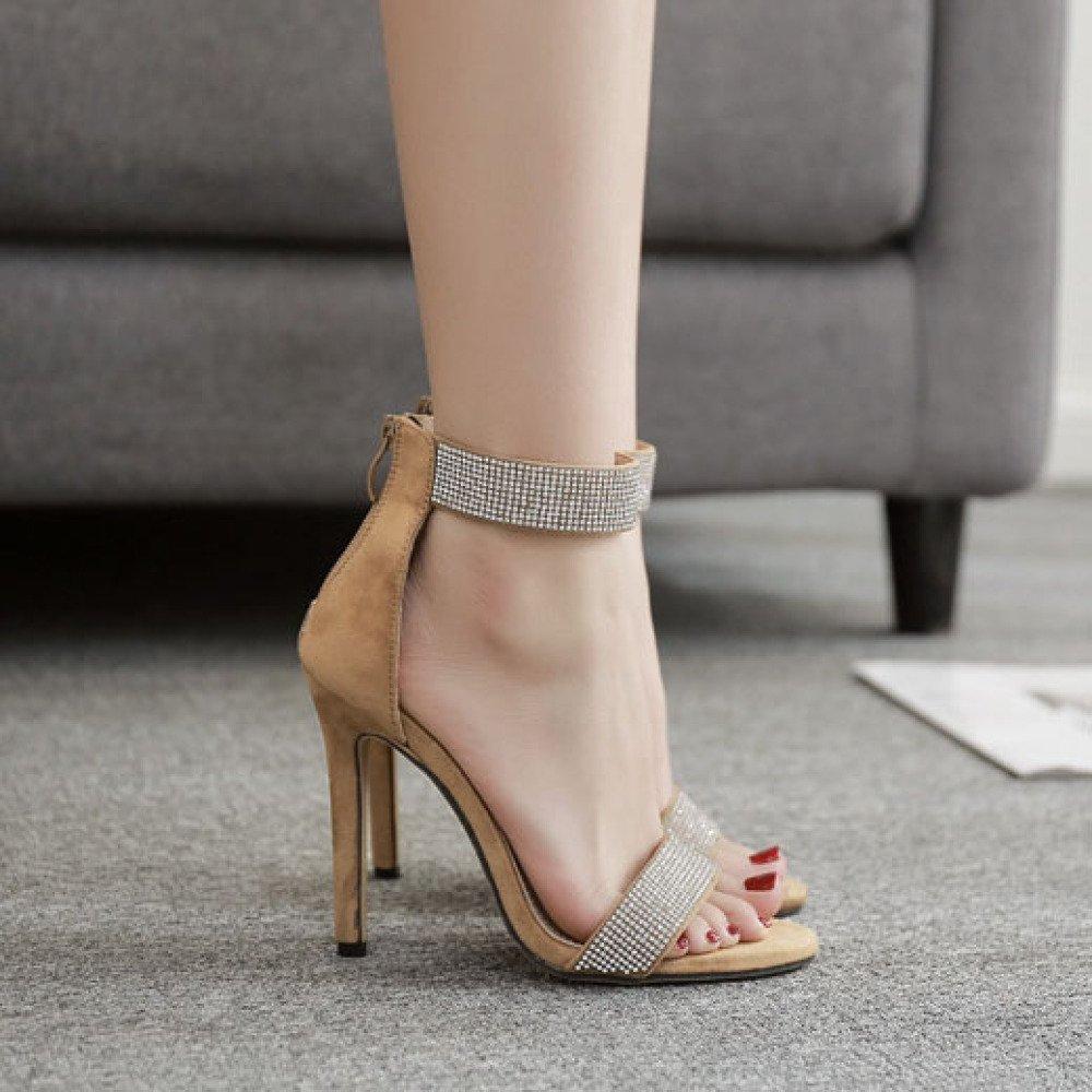 ZYQME Damen Pumps High Heels Strass Knöchelriemen Knöchelriemen Knöchelriemen Sexy Open Toe Kleid Party Sandalen Schuhe cc1850