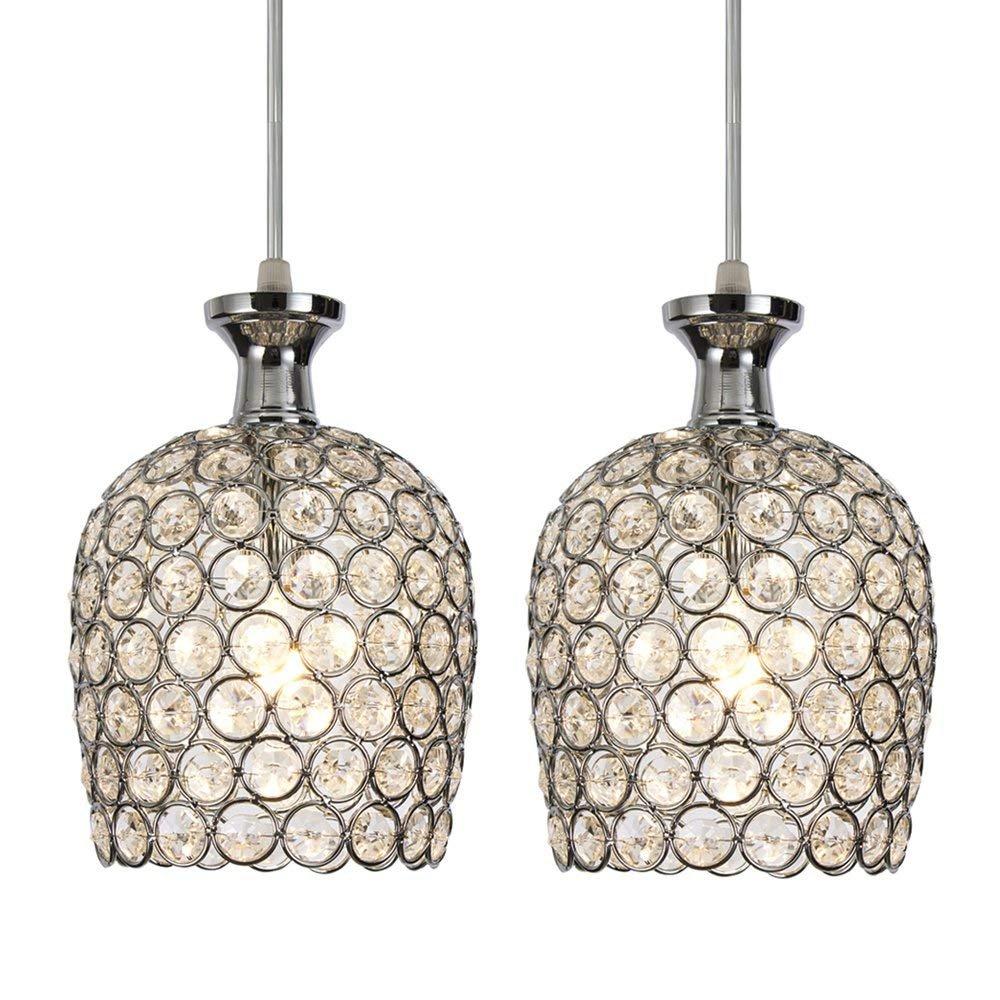 SOTTAE 2-Lights 57'' Cord Adjustable Hanging Light Clear Crystal Pendant Light, Chrome Finish Ceiling Pendant Light Fixtures For Kitchen Bar