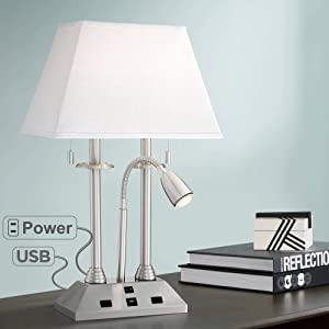 Dexter Modern Desk Lamp with USB and AC Power Outlet in Base Brushed Nickel LED Reading Light for Bedroom Bedside Office - Possini Euro Design