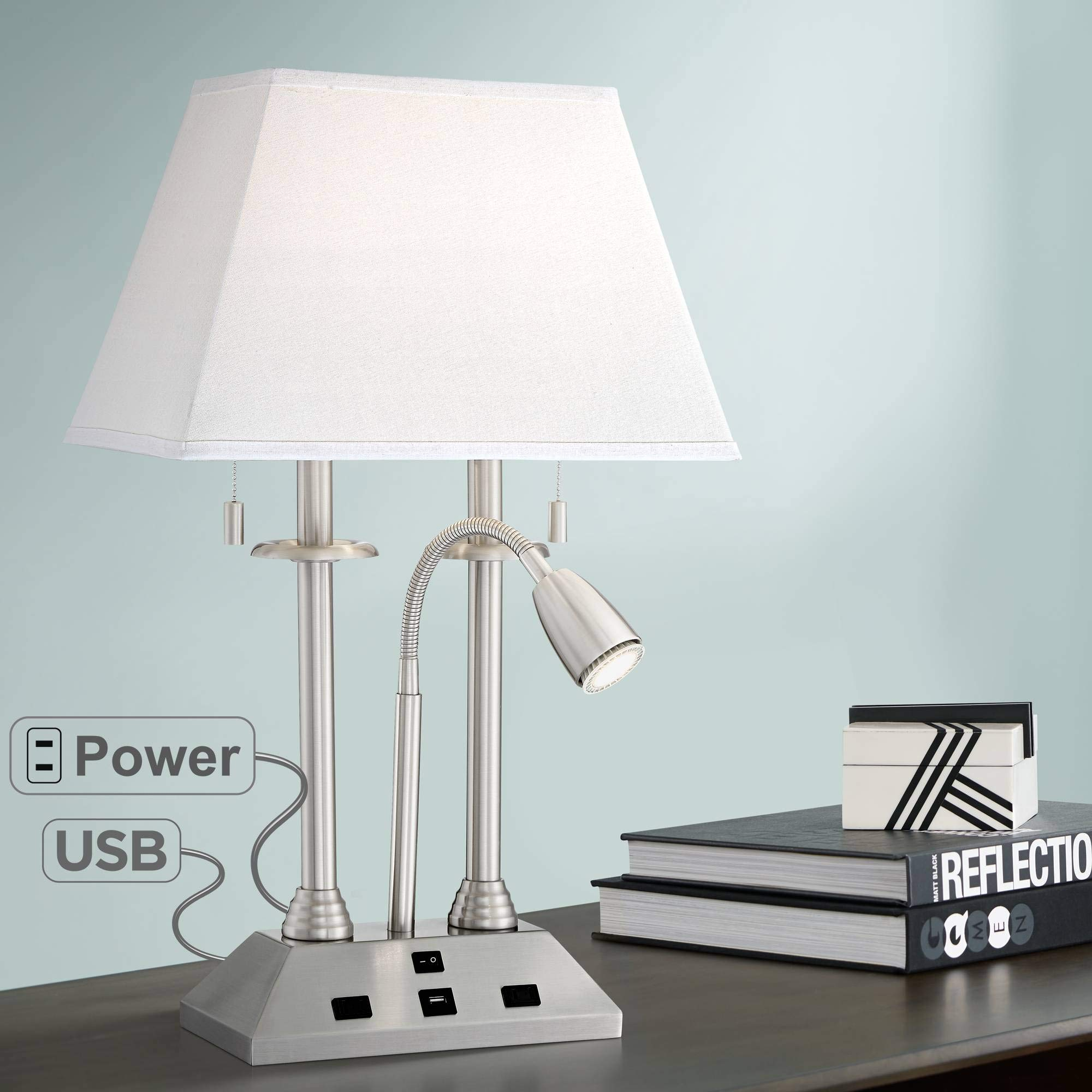 Dexter Modern Desk Lamp with USB and AC Power Outlet in Base Brushed Nickel LED Reading Light for Bedroom Bedside Office - Possini Euro Design