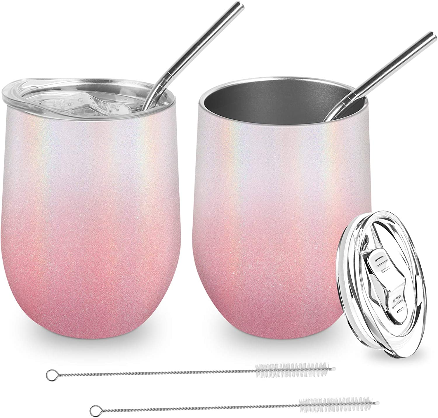 Wine Gifts for Women Christmas,2 Pack Stainless Steel Wine Tumbler with Lid and Straw,12oz Stemless Insulated Wine Glasses,Spill Proof Unbreakable Coffee Mug Cup Set for Birthday (Glitter Pink)