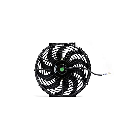 Engine Radiator Cooling Fan 12 Inch Curved Blade Ultra Thin Universal High Performance 12V 80W Motor,With Fan Mounting Kit(Puller and Pusher Design): Kitchen & Dining