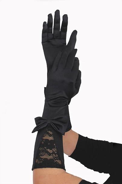 elegante Damen Handschuhe Satin ultra lange Satinhandschuhe schwarz Opera