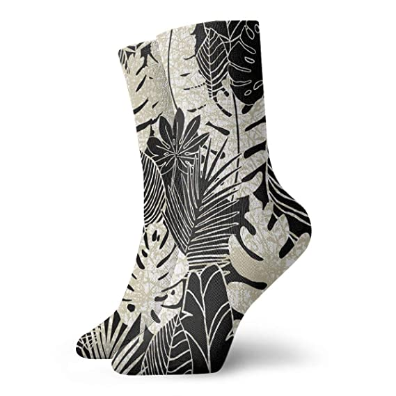 227b0b9dbf4 Image Unavailable. Image not available for. Color  Black and White Leaf Personalized  Socks ...