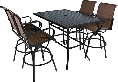 Pebble Lane Living 5pc Outdoor Patio Furniture Sling Patio Dining Bar Set