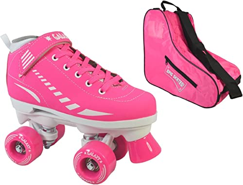 Epic Skates Epic Pink Galaxy Elite Quad Roller Skate 3-Piece Bundle