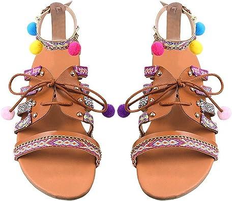 Womens Boho Bohemia Flat Tassel Sandals Ladies Summer Beach Slippers Shoes Size
