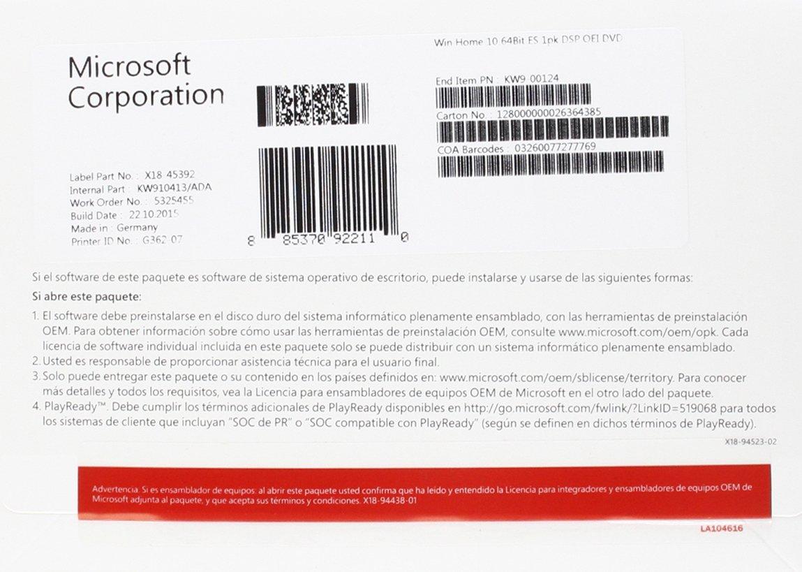Microsoft Windows 10 Home - Sistemas operativos (Delivery Service ...