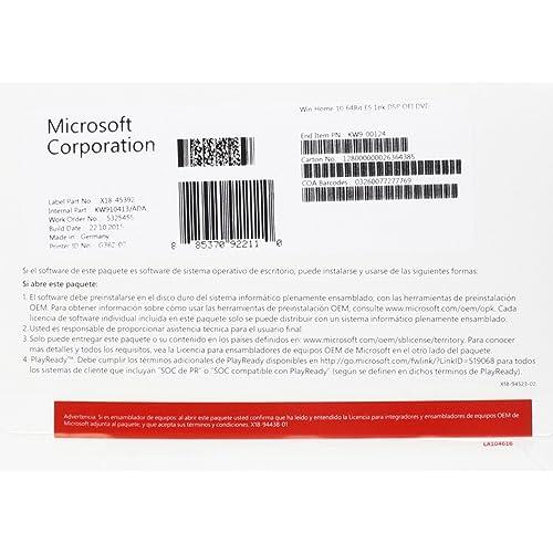 Microsoft Windows 10 Home - Sistemas operativos (Delivery Service Partner (DSP), DVD OEM, 1 usuario(s), 64 bit, 20 GB, 2 GB, 1 GHz)