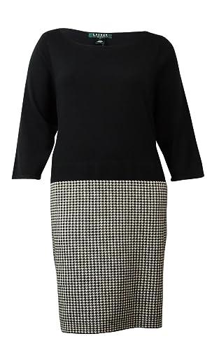 Lauren Ralph Lauren Womens Plus Houndstooth 3/4 Sleeve Sweaterdress