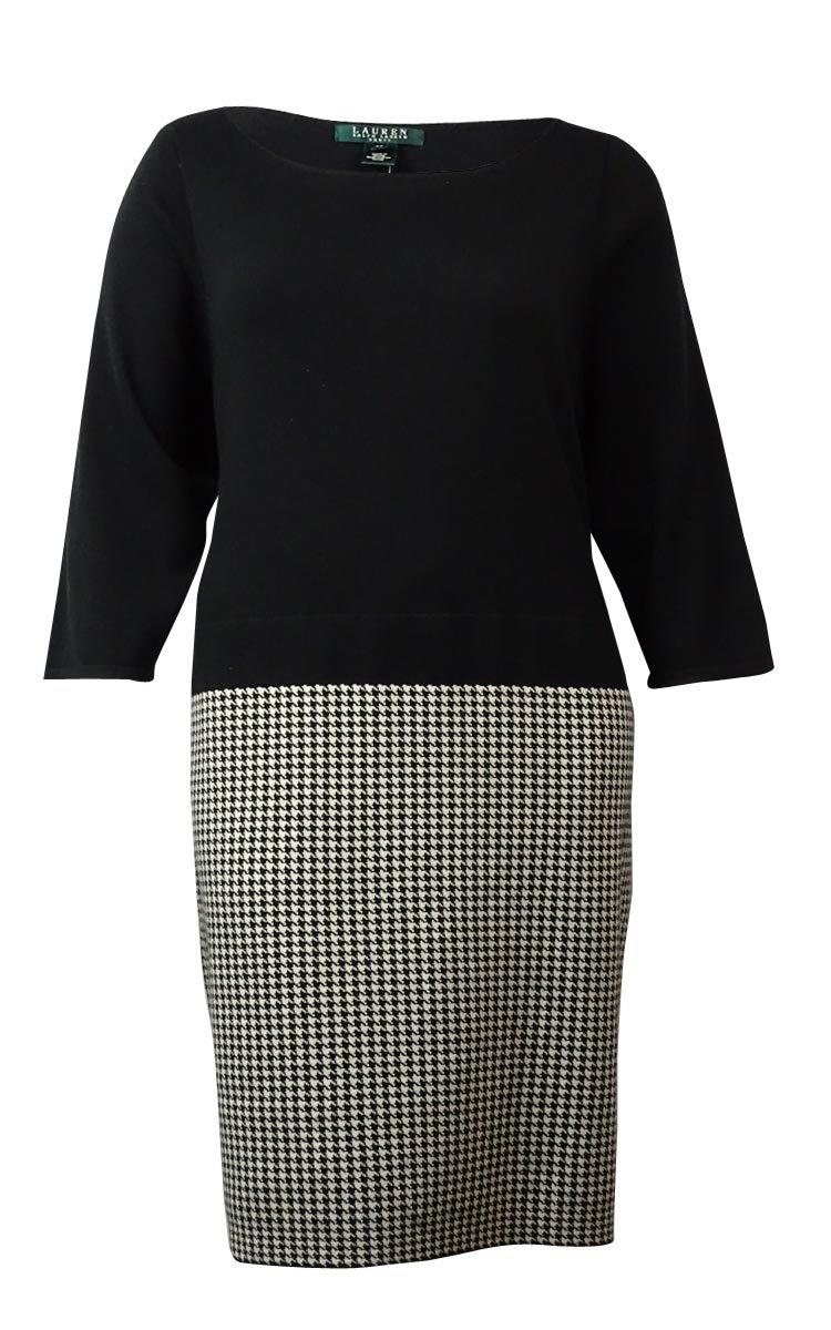 Lauren Ralph Lauren Women's Houndstooth Knit Sheath Dress (3X, Black/Cream)