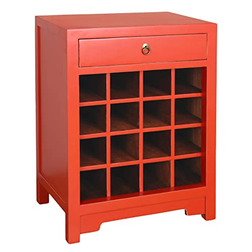 Antique Revival CB088A ORG Porthos Home Wine Cabinet End Table, Orange,