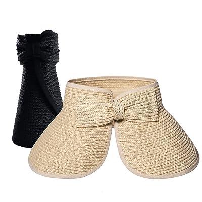 2 Piezas Pamelas Playa Mujer, Sombrero Mujer Verano Plegable con ala Ancha: Ropa y accesorios