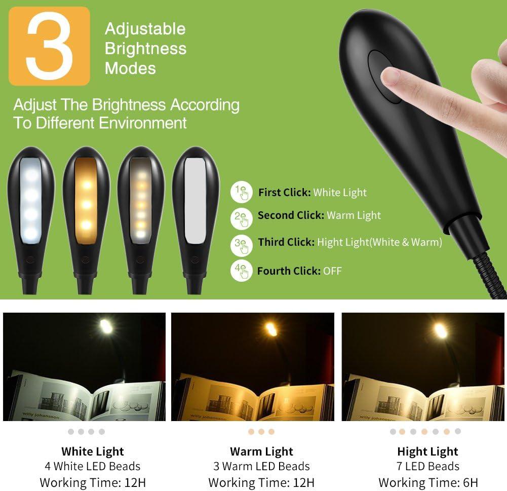 SKYEE Luz de Lectura para Libro, Flexo de Pinza Recargable LED ...
