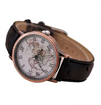 Buy unisex vintage world map watch black online at low prices in unisex vintage world map watch black gumiabroncs Images