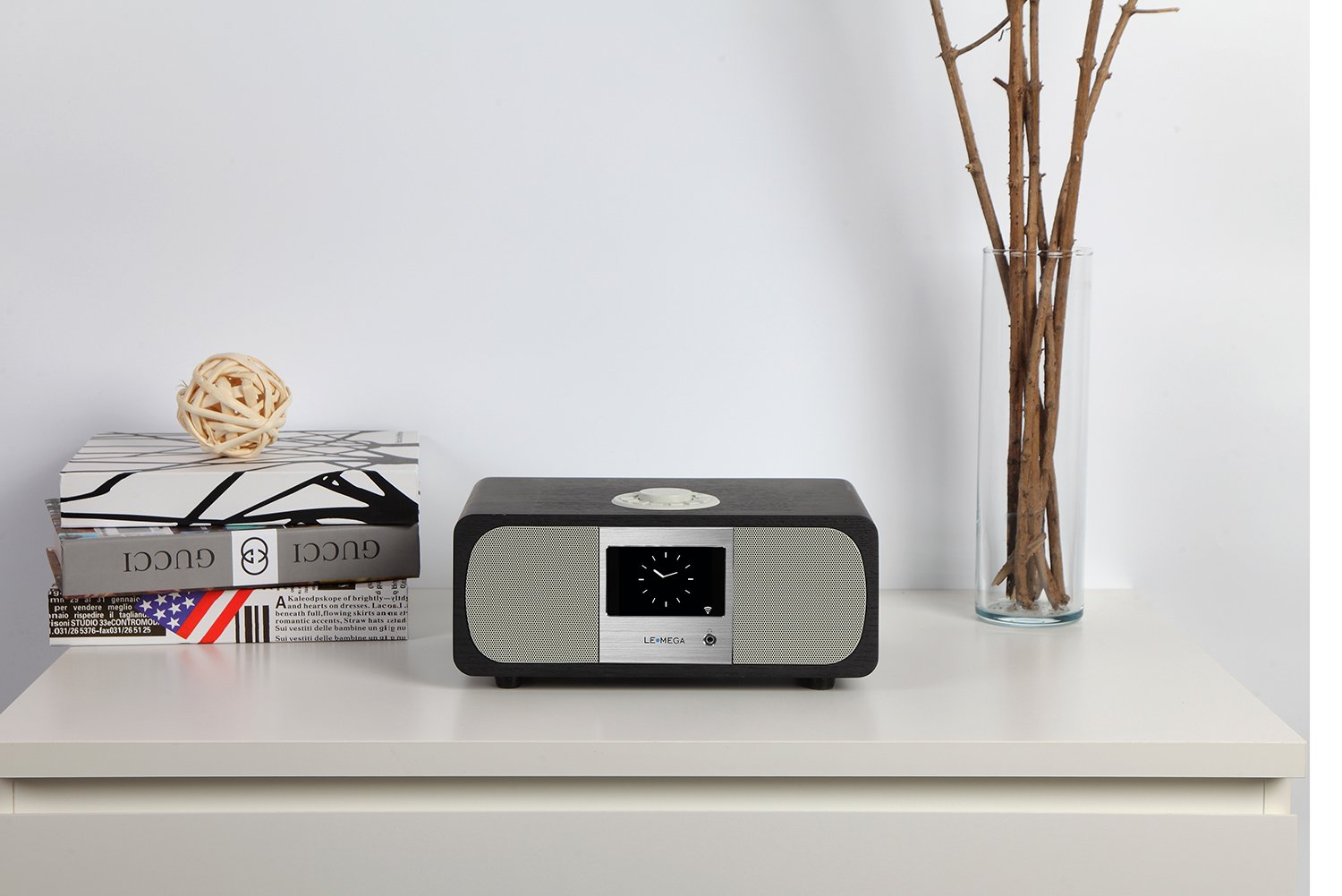 Lemega M3+ Internet Radio & Wireless Smart Speaker (HI-FI 2.1 Stereo) with FM, Bluetooth Music Streaming, Spotify Connect, Remote & App Control, Dual Alarm, Colour Display (Black Oak) by LEMEGA (Image #6)