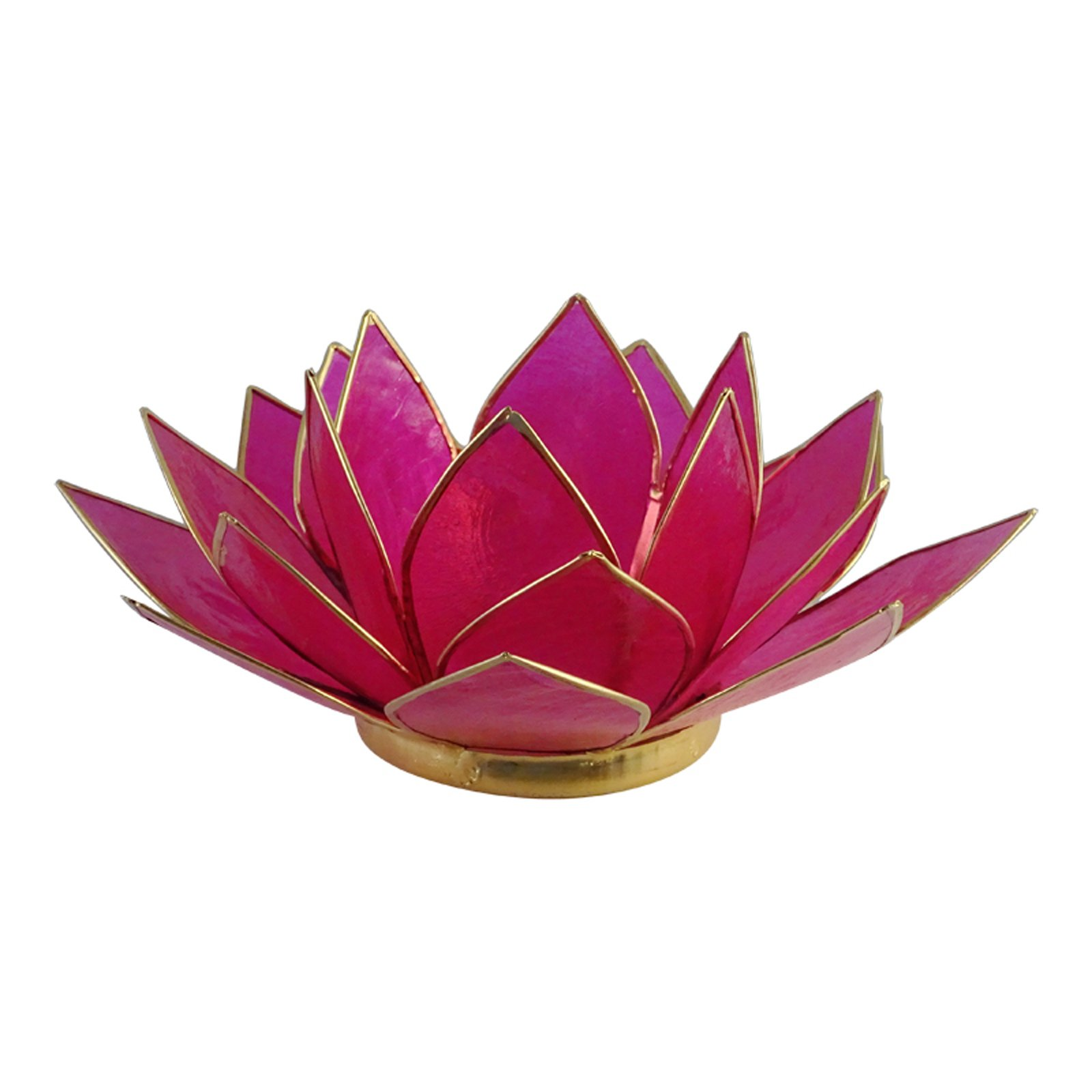 The Crabby Nook Lotus Tea Light Candle Holder Capiz Shell Decorating Accent Home Decor (Hot Pink)