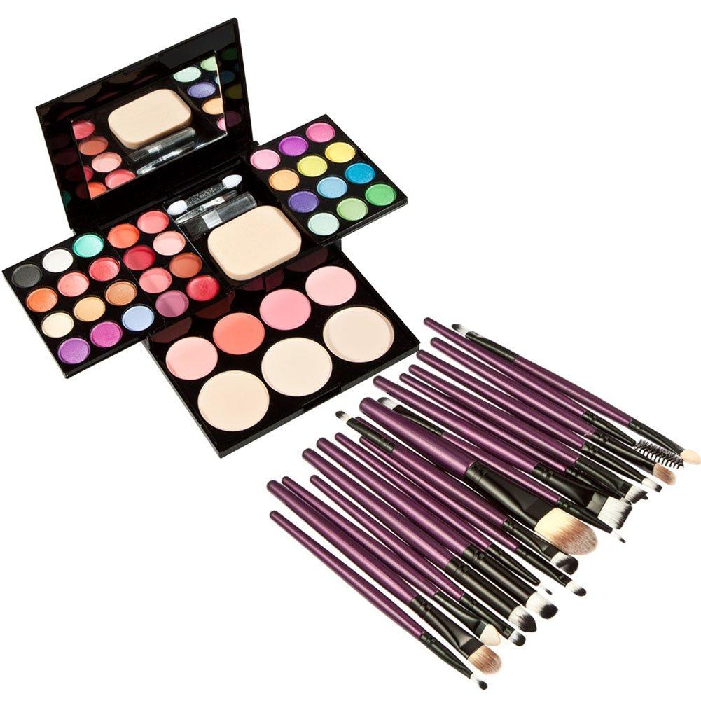 Jocestyle 20 Pcs Cosmetic Brushes + 1 Pcs Makeup Palette Set with Eyeshadow Lip Gloss Lipstick Foundation Powder Blush Cream Tool Kit