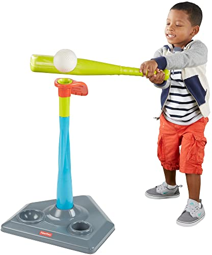 Fisher-Price Grow-to-Pro 2-in-1 Tee Ball that grows with your child - Includes height-adjustable tee, removable bat guide, bat, ball and base for storage. For kids ages 2-5