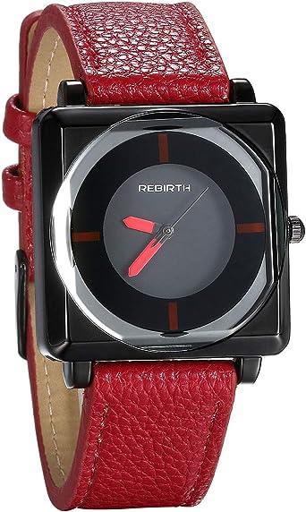 JewelryWe Reloj de pulsera para hombre, esfera cuadrada