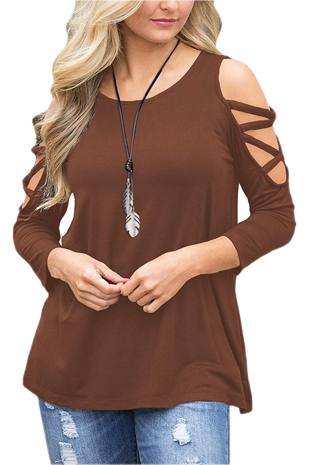 LUOUSE Women's Hollowed Out Shoulder 3/4 Long Sleeve Casual Tunic Blouse Loose T-Shirts Tops T184USf