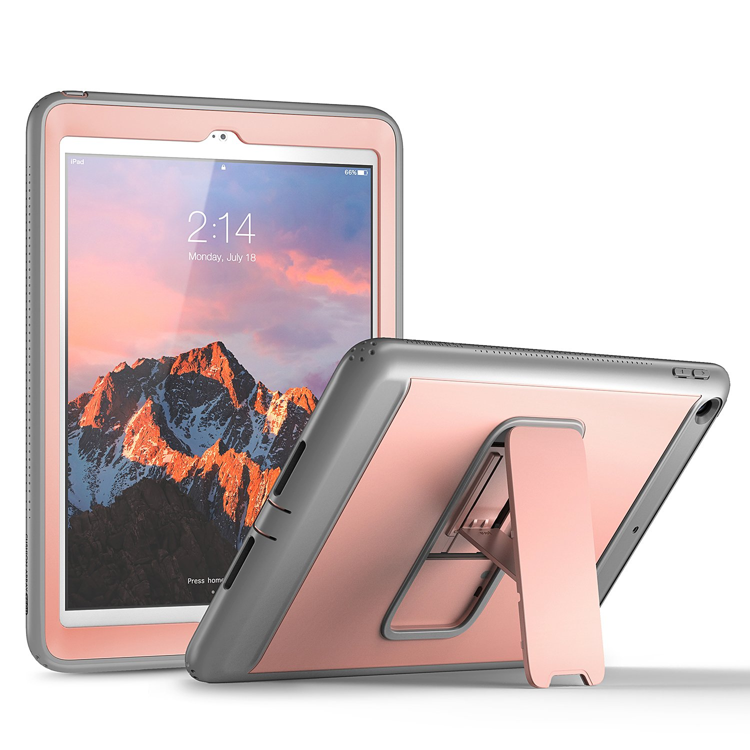 New iPad 2017 9.7 inch Case, YOUMAKER Heavy Duty Kickstand Shockproof Protective Case Cover for Apple New iPad 9.7 inch (2017 Version) with Built-in Screen Protector (Rose Gold/Gray) by YOUMAKER