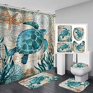 Sea Turtle Nautical Shower Curtain Sets with Non-Slip Rugs Toilet Lid Cover and Bath Mat Beach Ocean Decor Coastal Shower Curtains with 12 Hooks Fabric Bath Curtain