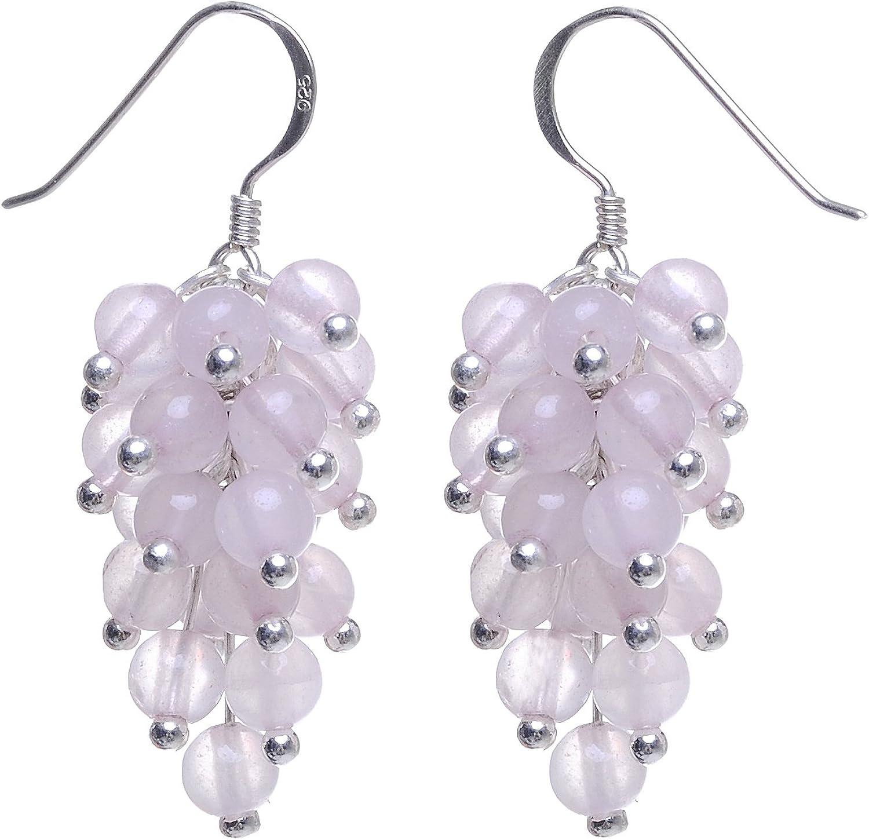 Pendientes para mujer de cuarzo rosa y plata 925, con efecto de racimo de uvas