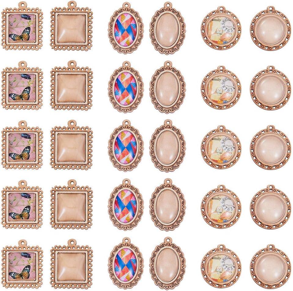SUNNYCLUE 30 Piezas 3 Estilos Bandejas Colgantes de Madera con Cabujones de Vidrio Transparentes Cuadrados Ovales Redondos para Hacer Fotos de Bricolaje Joyas de Regalo de Cabuj/ón Azulejos de Vidrio