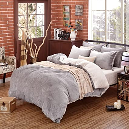 set lace velvet bedding rabbit sets fleece cover duvet flannel bed carving stripe pure item