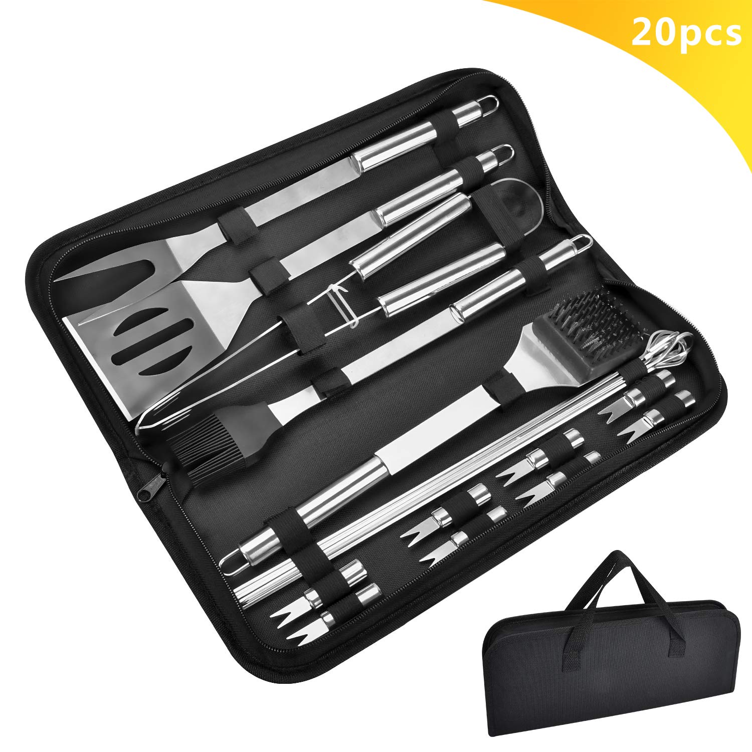 BBQ Tool Set 20 Pcs Stainless Steel Accessories Grill Grilling Barbecue Utensils Gift for Men Dad on Father s Day with Skewer, Spatula, Tong, Fork, Holder and Brush for Outdoor Camping