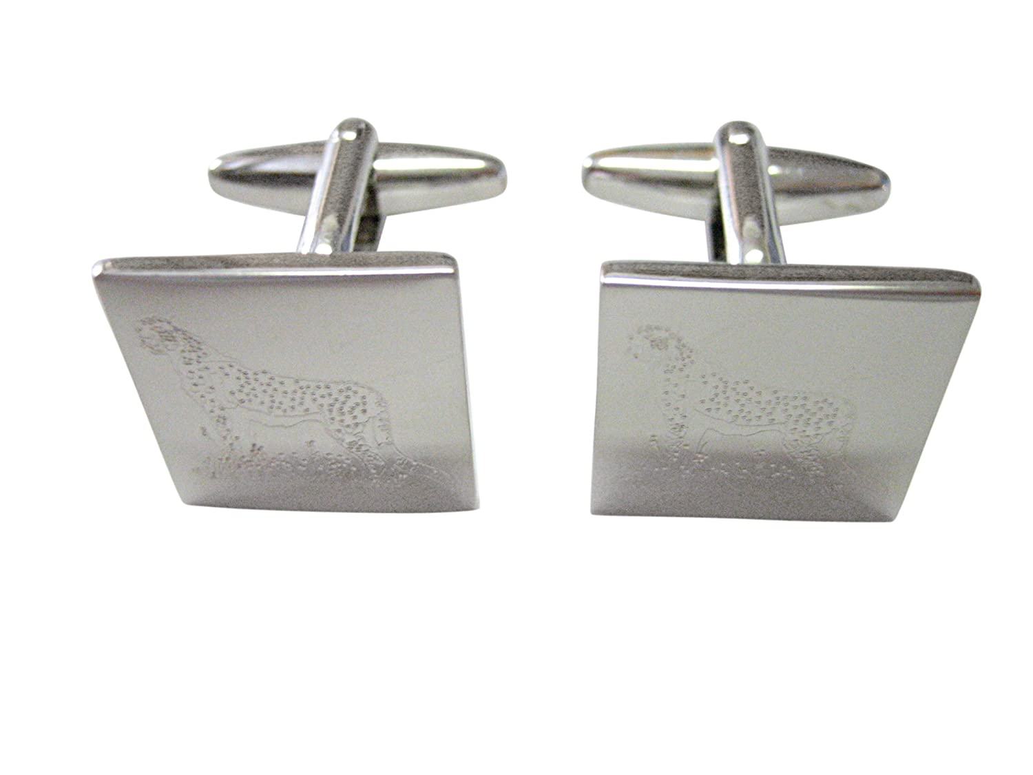 Silver Toned Etched Cheetah Cufflinks