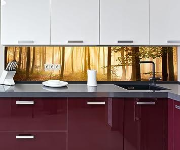 Küchenrückwand Wald am Morgen Nischenrückwand Spritzschutz Design ...