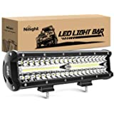 Nilight 18023C-A 12Inch 12 Inch 300W Triple Row Flood Spot Combo 30000LM Bar Driving Boat Led Off Road Lights for Trucks,2 Ye